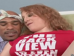 Curly Redhead Teen Seduce to Fuck by Big Monster Cock