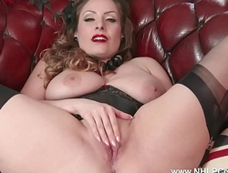 Natural big tits brunette wanks in nylon