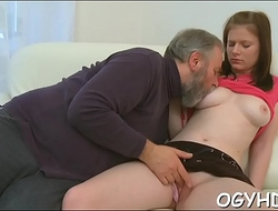Sweet young beauty licked by pold guy