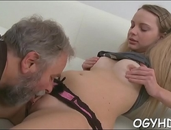 Steaming young babe fucks old guy