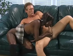 Sexy young black girl tries a mature white cock