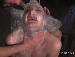 Bound slave got breath torment