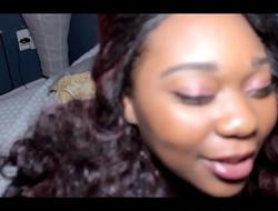 Ebony BBW gets her mouth fucked by 2 big black cocks