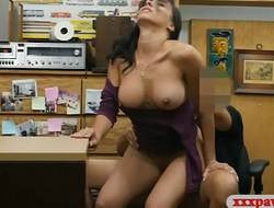 Big boobs woman drilled by pawn keeper