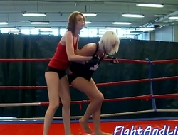 Redhead dyke fingered after wrestling