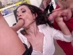 Horny office slut gets double donged at her work place