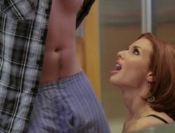 Redhead mature with big boobs seduced her shy stepson